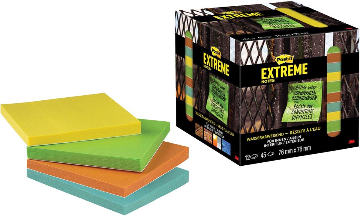 Post-it® Extreme Notes, ft 76 mm x 76 mm, 12 blokken van 45 blaadjes, geassorteerde kleuren