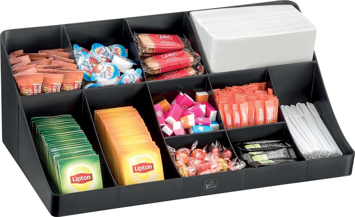 Organisatie element voor de koffiehoek of keuken, 11 compartimenten, kleur zwart
