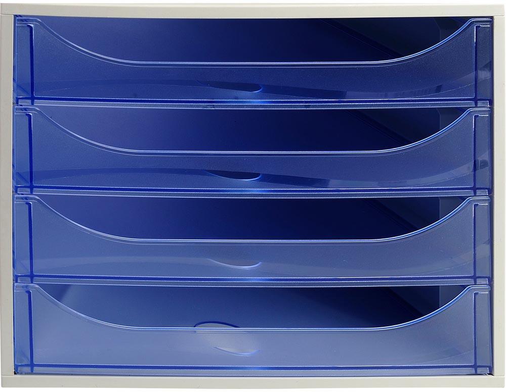 Exacompta Ecobox ladenblok met 4 laden Office grijs/transparant ijsblauw
