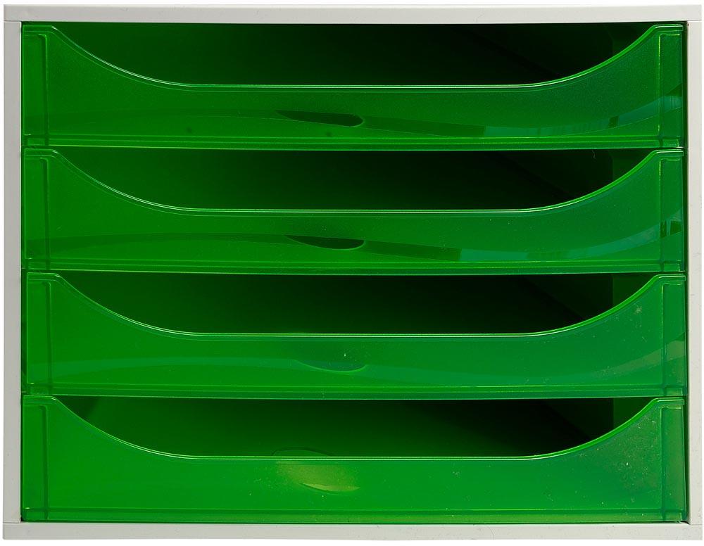 Exacompta Ecobox ladenblok met 4 laden Office grijs/transparant appelgroen