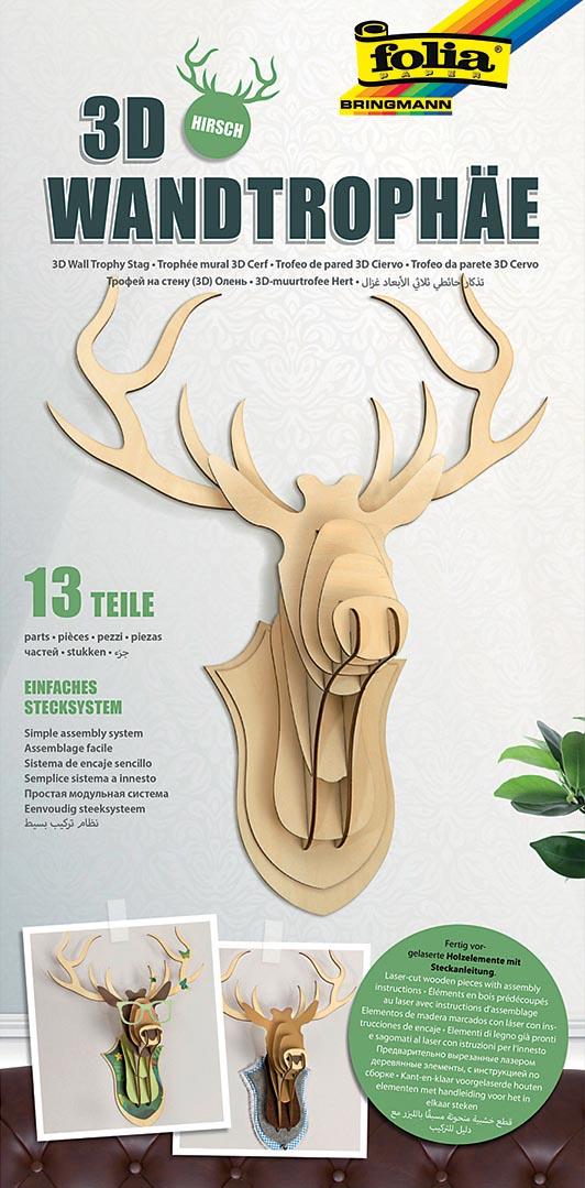 Folia wandtrofee 3D hert, 13-delig