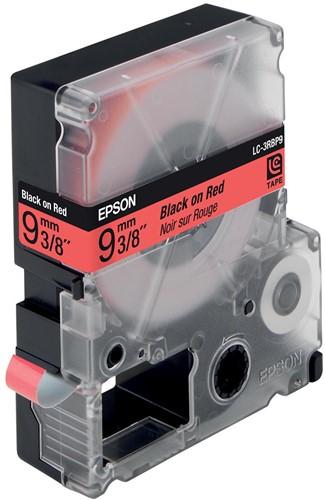 Epson tape 9 mm, zwart op pastelrood