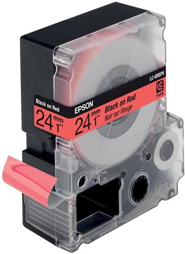 Epson tape 24 mm, zwart op pastelrood