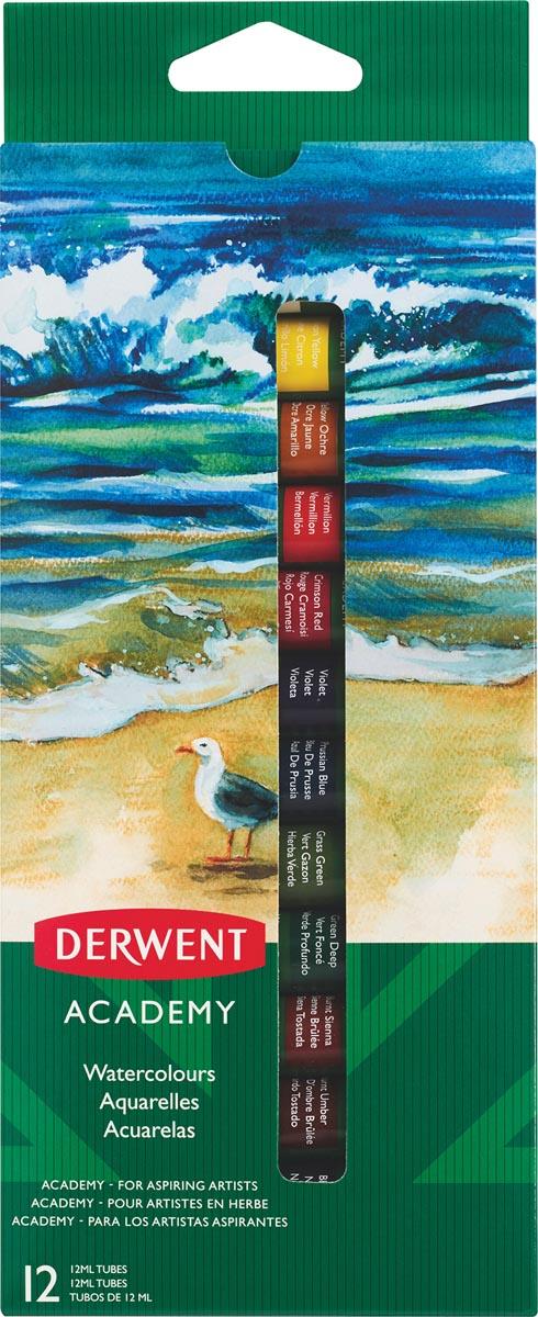 Derwent waterverf Academy , 12 ml, blister van 12 tubes in geassorteerde kleuren