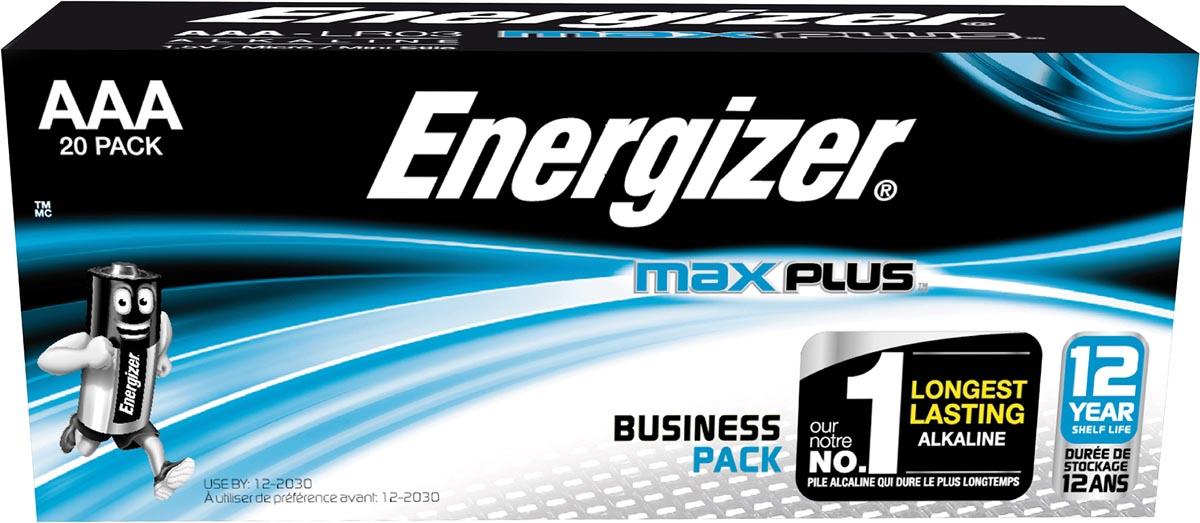 Energizer batterijen Max Plus AAA, pak van 20 stuks