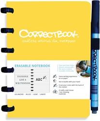 Correctbook A6 gelijnd herbruikbaar notitieboekje, geel