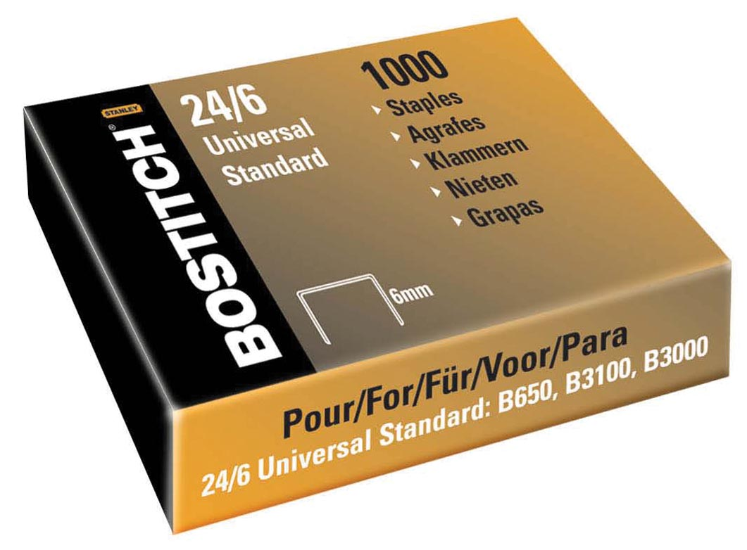 Bostitch nietjes 24-6-5MGAL (6 mm), koperkleurig, voor B440F, B660, B650, B3100, B202, B2500, B3000,