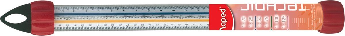 Maped driekantige schaallat, schaalverdeling 1:20, 1:25, 1:50, 1:75, 1:100, 1:125, oranje