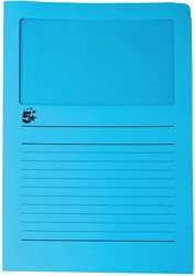 5 Star L-map met venster, lichtblauw, pak van 50