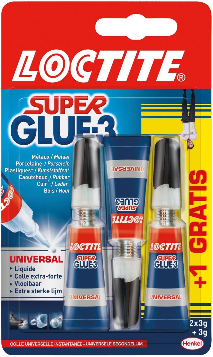 Loctite secondelijm Super Glue Universal, 2 + 1 gratis, op blister