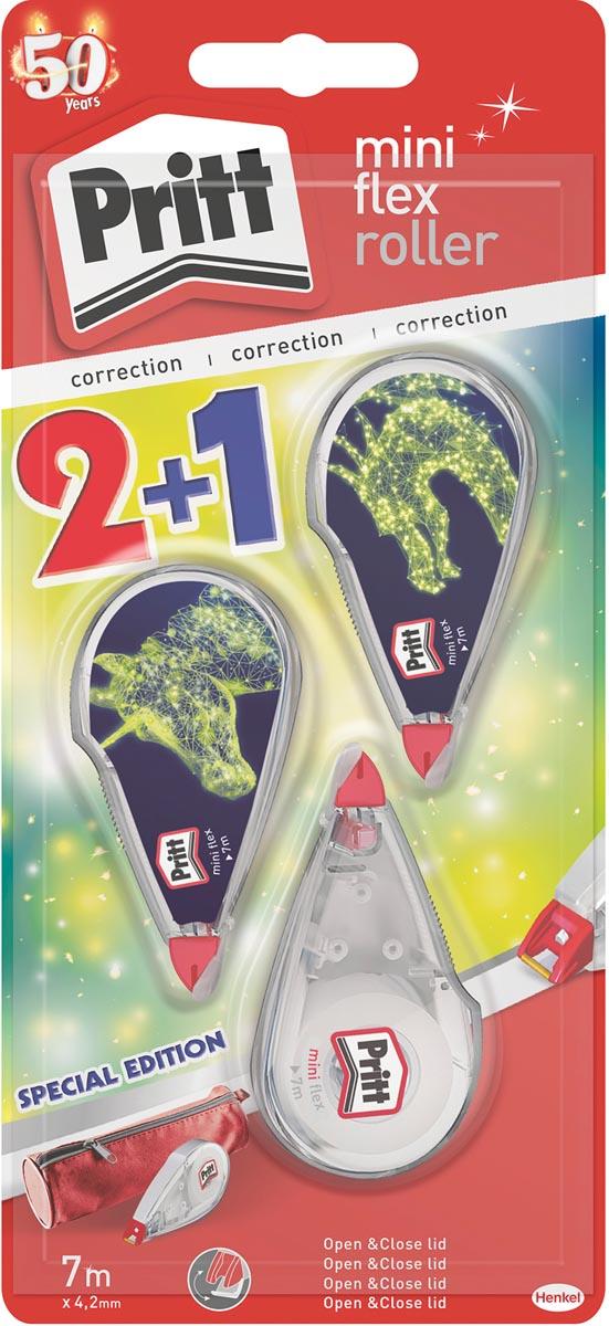 Pritt correctieroller Mini Flex Special Edition, 2 + 1 gratis, op blister