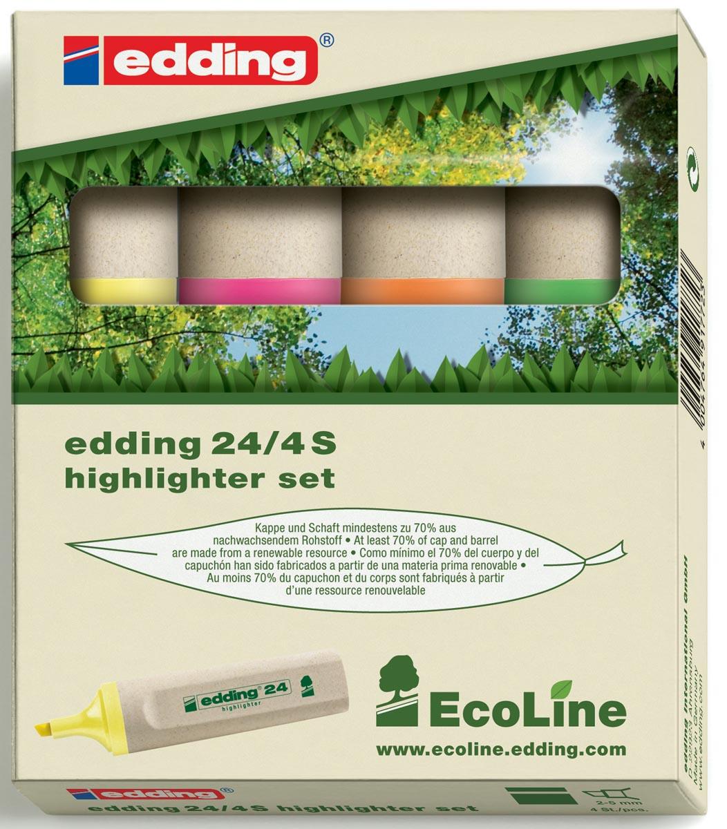 Edding Markeerstift Ecoline e-24 etui van 4 stuks in geassorteerde kleuren