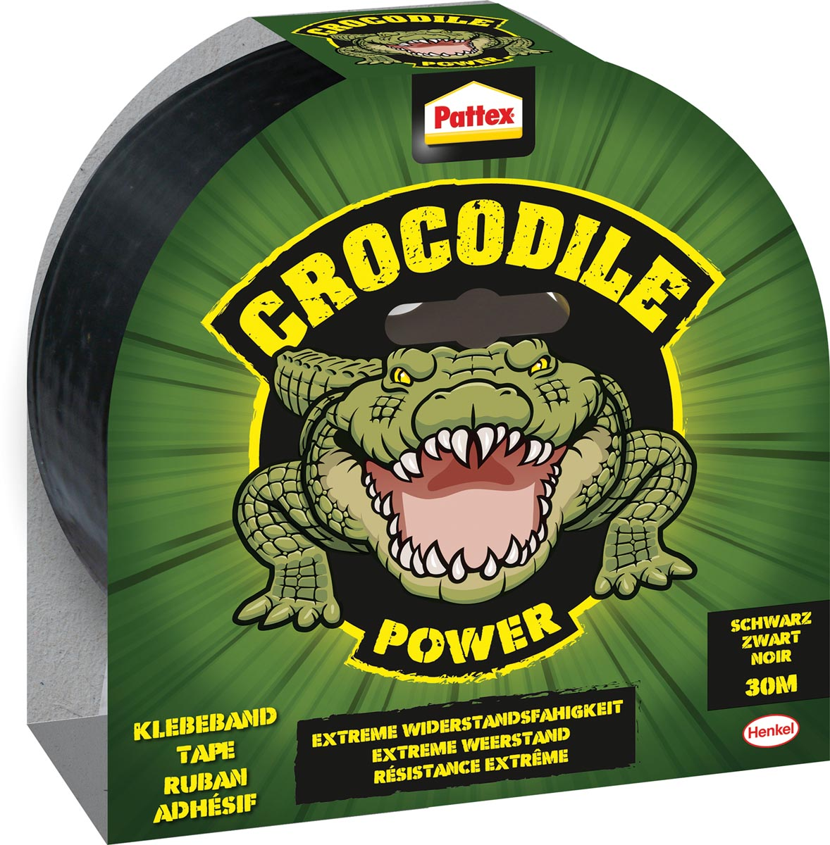 Pattex plakband Crocodile Power Tape lengte: 30 m, zwart