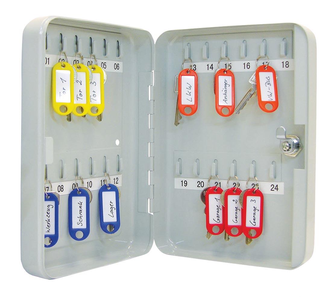 Wedo sleutelkast voor 24 sleutels, ft 18 x 6 x 25 cm, grijs