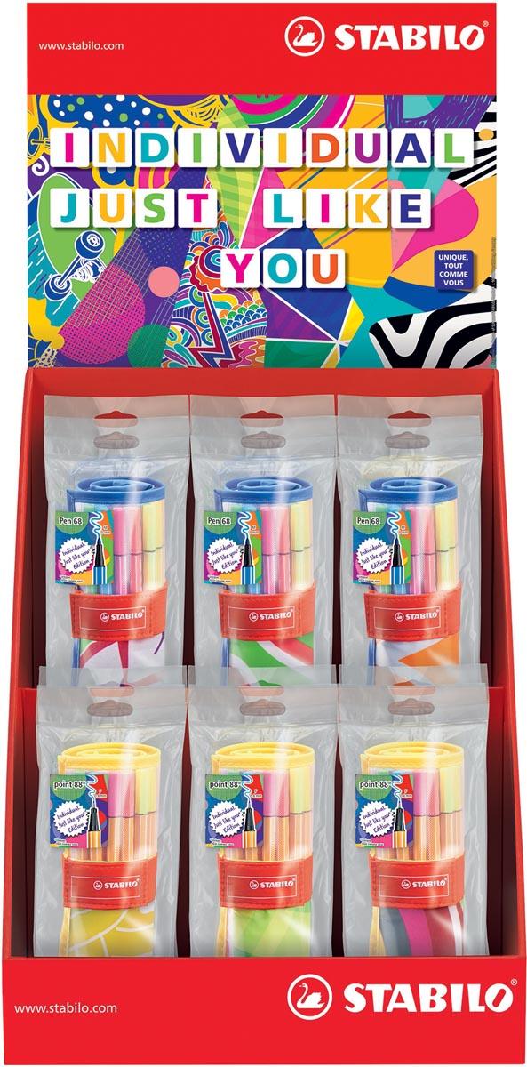 STABILO point 88 fineliners + Pen 68 viltstiften, Individual Just Like You, display 12 etuis van 25