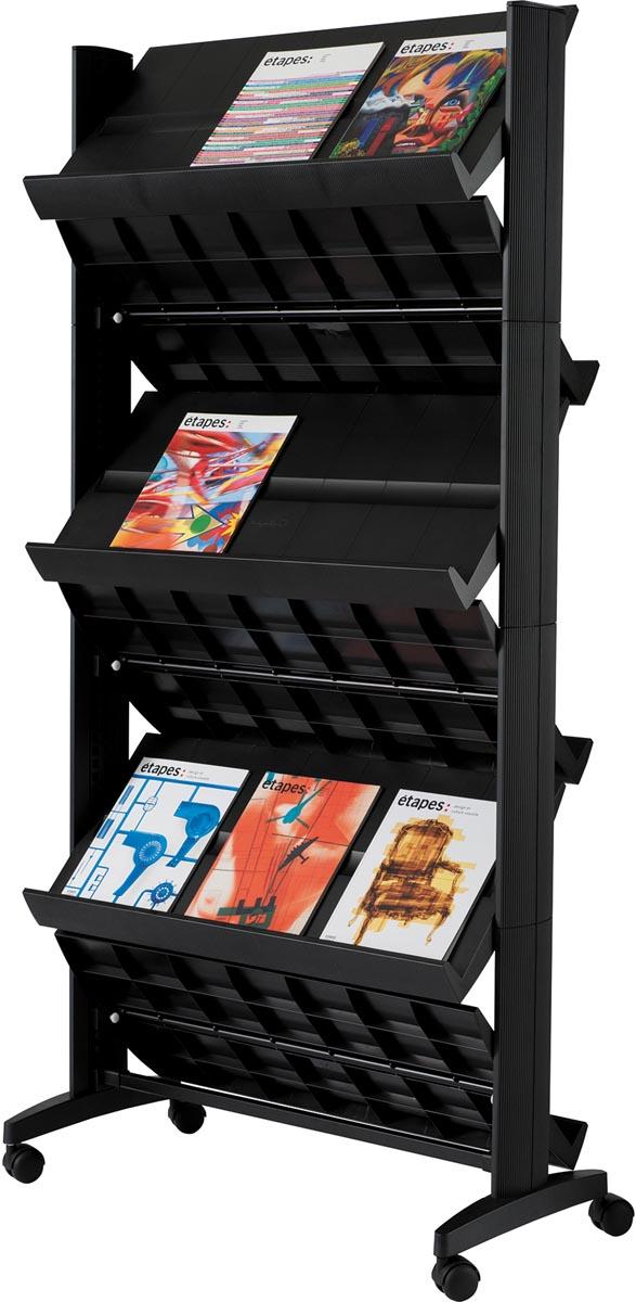 easyDisplay PaperFlow dubbelzijdig mobiel literatuurdisplay 6 planken, ft 33,67 x 15,17 x 66