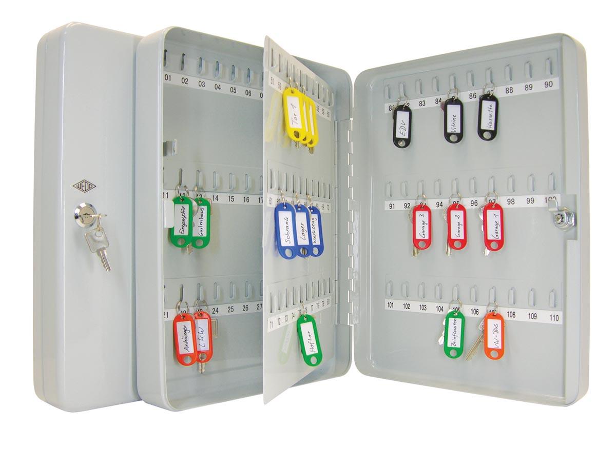 Wedo sleutelkast voor 110 sleutels, ft 28 x 8 x 37 cm, grijs