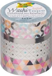 Folia washi tape zilver, pak met 4 stuks