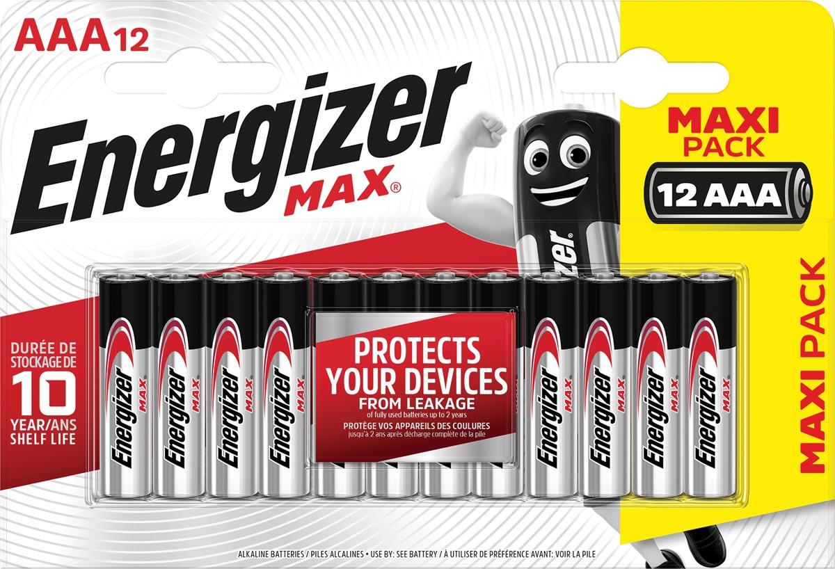 Energizer batterijen Max AAA, blister van 12 stuks
