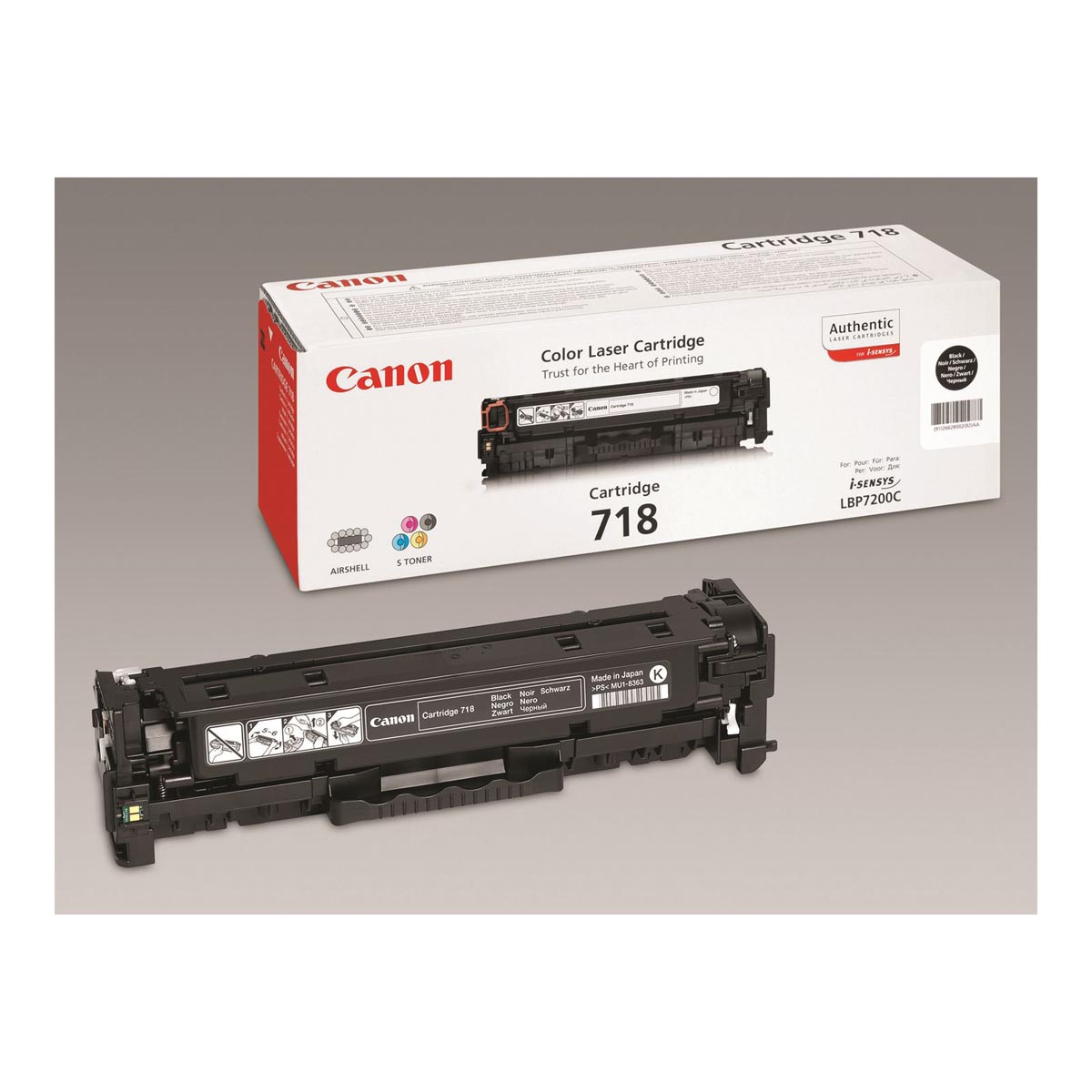 Canon toner 718BK - 3.400 pagina's, OEM 2662B005, duopack, zwart