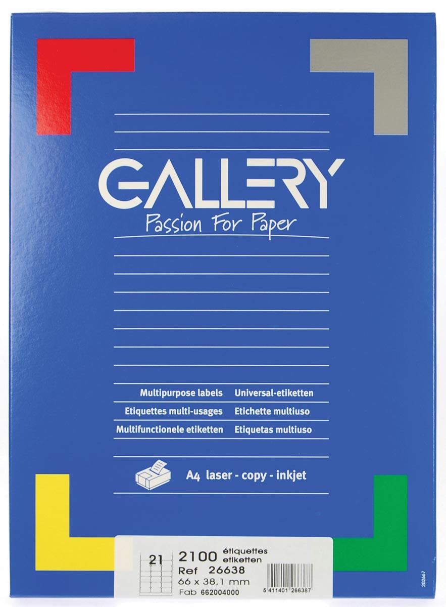 Gallery witte etiketten ft 66 x 38,1 mm (b x h), ronde hoeken, doos van 2.100 etiketten