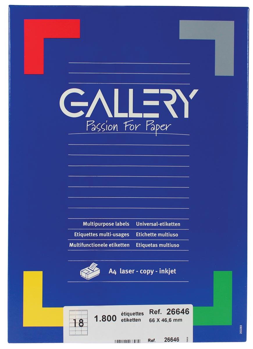 Gallery witte etiketten ft 66 x 46,6 mm (b x h), ronde hoeken, doos van 1.800 etiketten