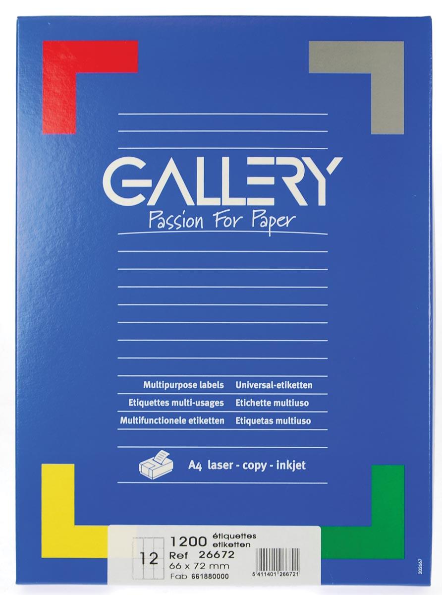 Gallery witte etiketten ft 66 x 72 mm (b x h), ronde hoeken, doos van 1.200 etiketten