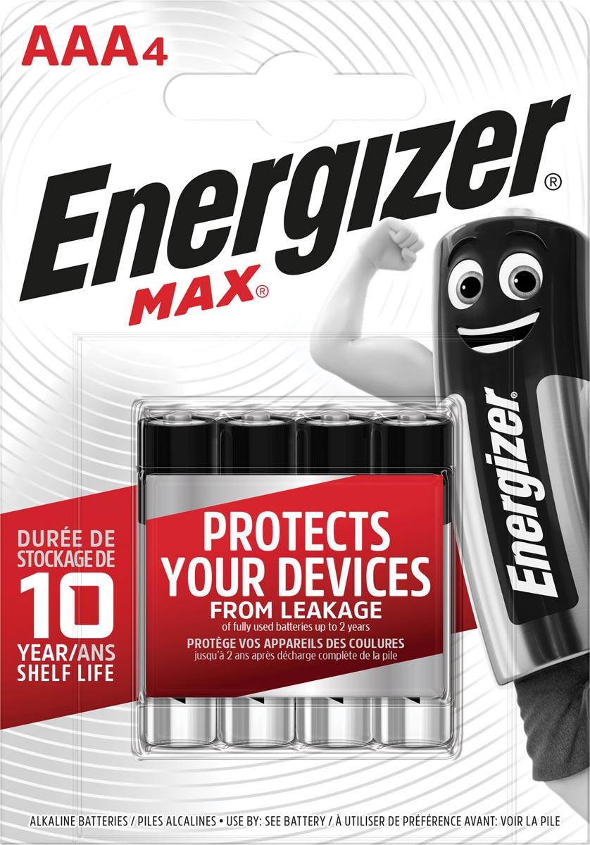 Energizer batterijen Max AAA, blister van 4 stuks