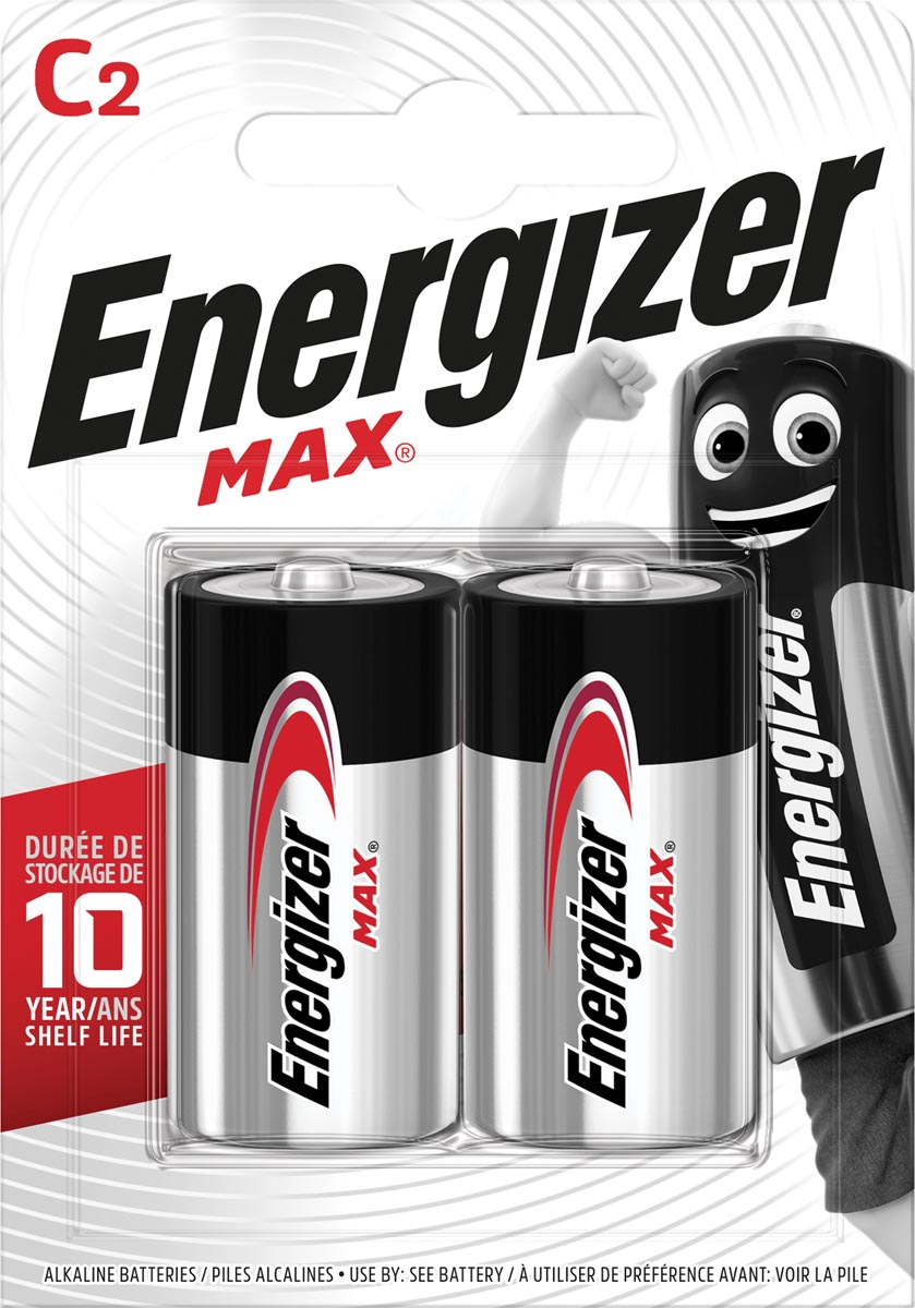 Energizer batterijen Max C, blister van 2 stuks