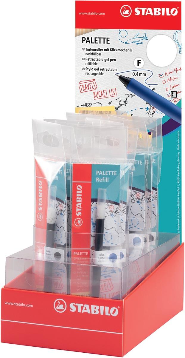 STABILO PALETTE gel roller navulling, 0,4 mm, display van 20 stuks in geassorteerde kleuren