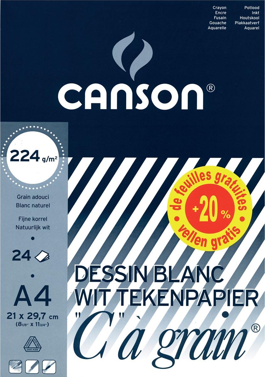 Canson tekenblok C à grain® ft A4, papier van 224 g/m²