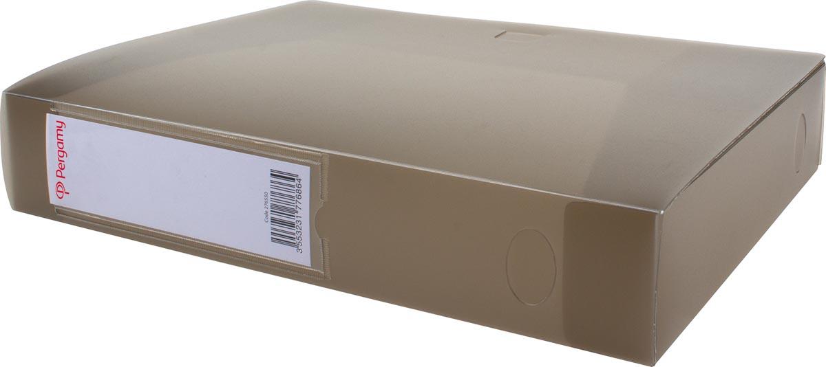 Pergamy elastobox, voor ft A4, uit PP van 700 micron, rug van 6 cm, transparant grijs