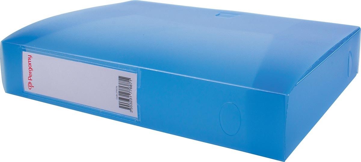 Pergamy elastobox, voor ft A4, uit PP van 700 micron, rug van 6 cm, transparant blauw