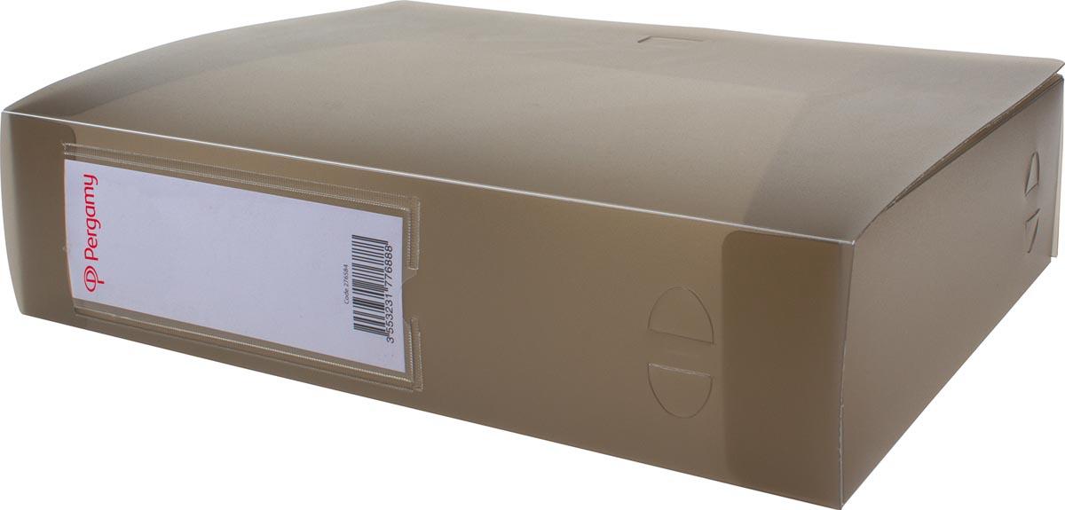 Pergamy elastobox, voor ft A4, uit PP van 700 micron, rug van 8 cm, transparant grijs