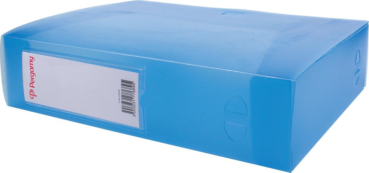 Pergamy elastobox, voor ft A4, uit PP van 700 micron, rug van 8 cm, transparant blauw