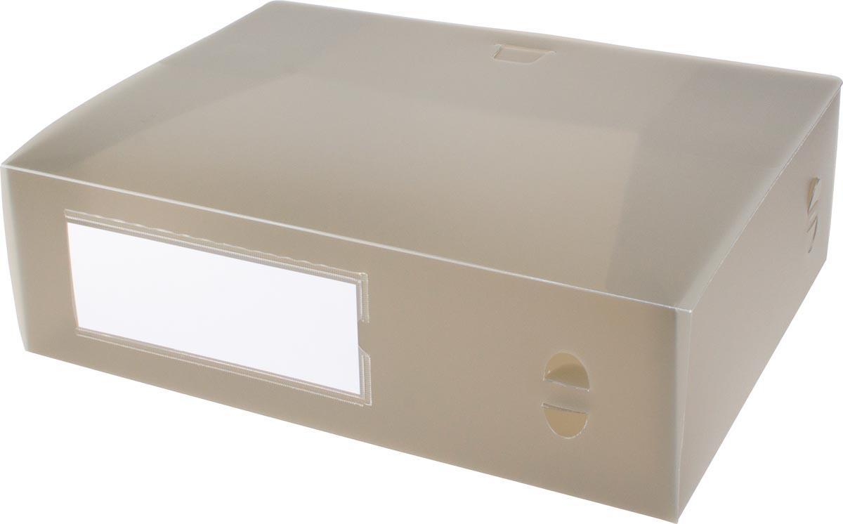 Pergamy elastobox, voor ft A4, uit PP van 700 micron, rug van 10 cm, transparant grijs