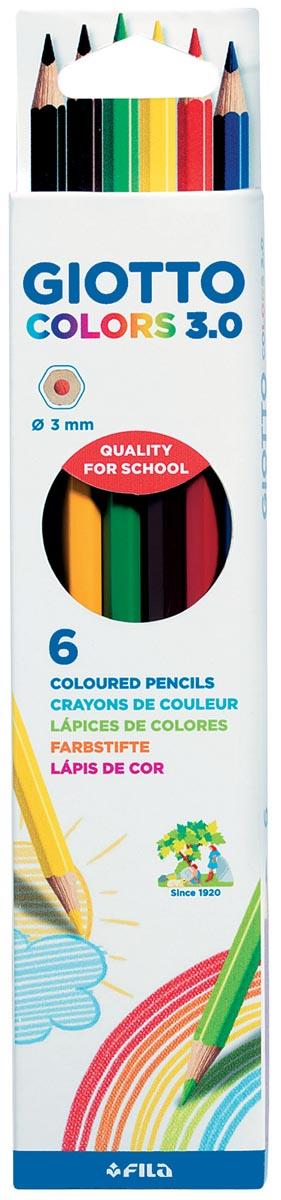 Giotto Colors 3.0 kleurpotloden, kartonnen etui met 6 stuks in geassorteerde kleuren