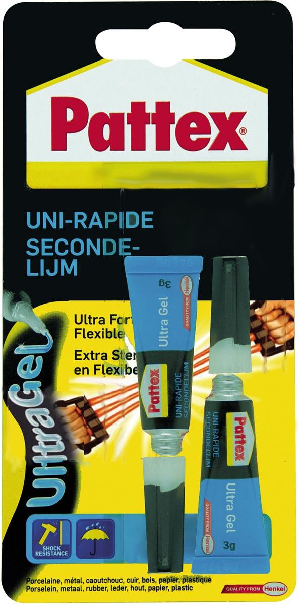 Pattex secondenlijm UltraGel, 2 x 3 g, op blister
