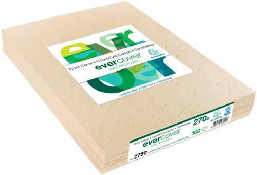 Exacompta omslagen uit lederprint ft A4, 270 micron, pak van 100 stuks, ivoor