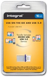 Integral Micro USB 2.0, 2 in 1 on the go, 16 GB