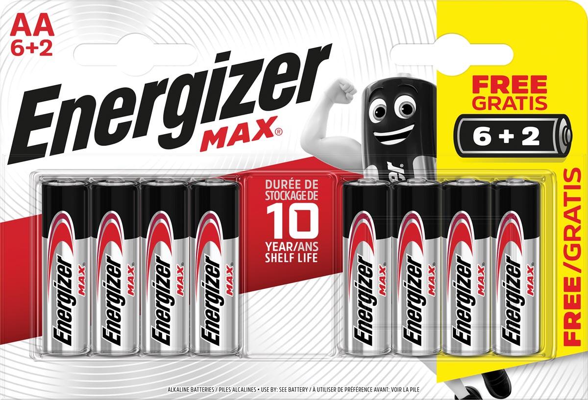 Energizer batterijen Max AA, blister van 6 stuks + 2 stuks gratis