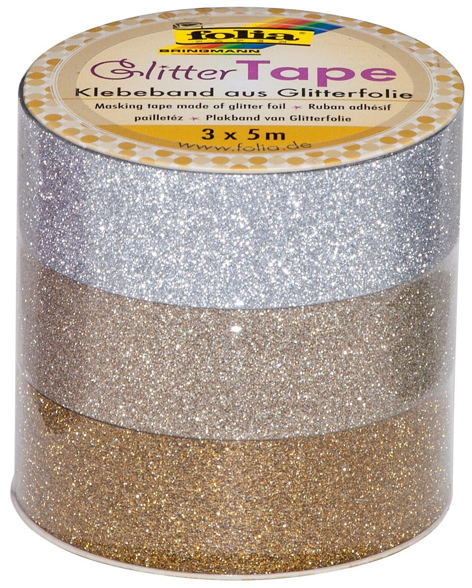 Folia glittertape zilver en goud rolletje met 3 stuks