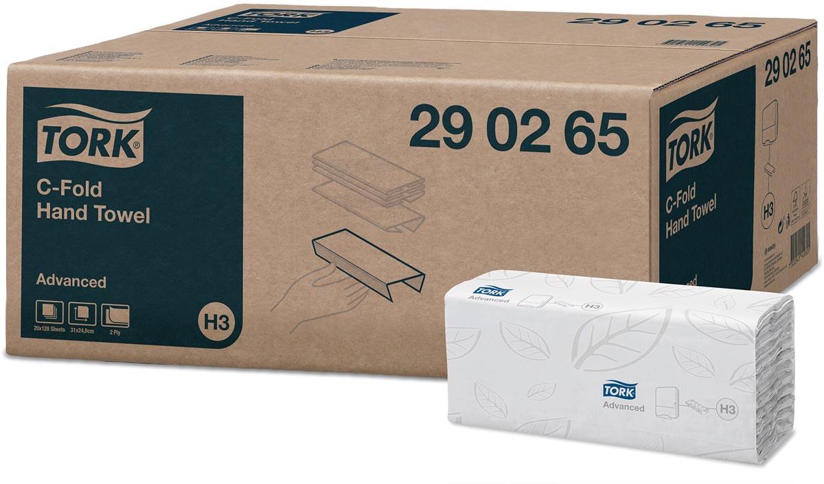 Tork Advanced papieren handdoeken, 2-laags, 128 vellen, systeem H3, wit, pak van 20