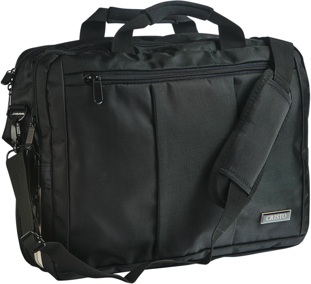 Cristo Portable laptoptas voor 15 inch laptops, 2-in-1, zwart