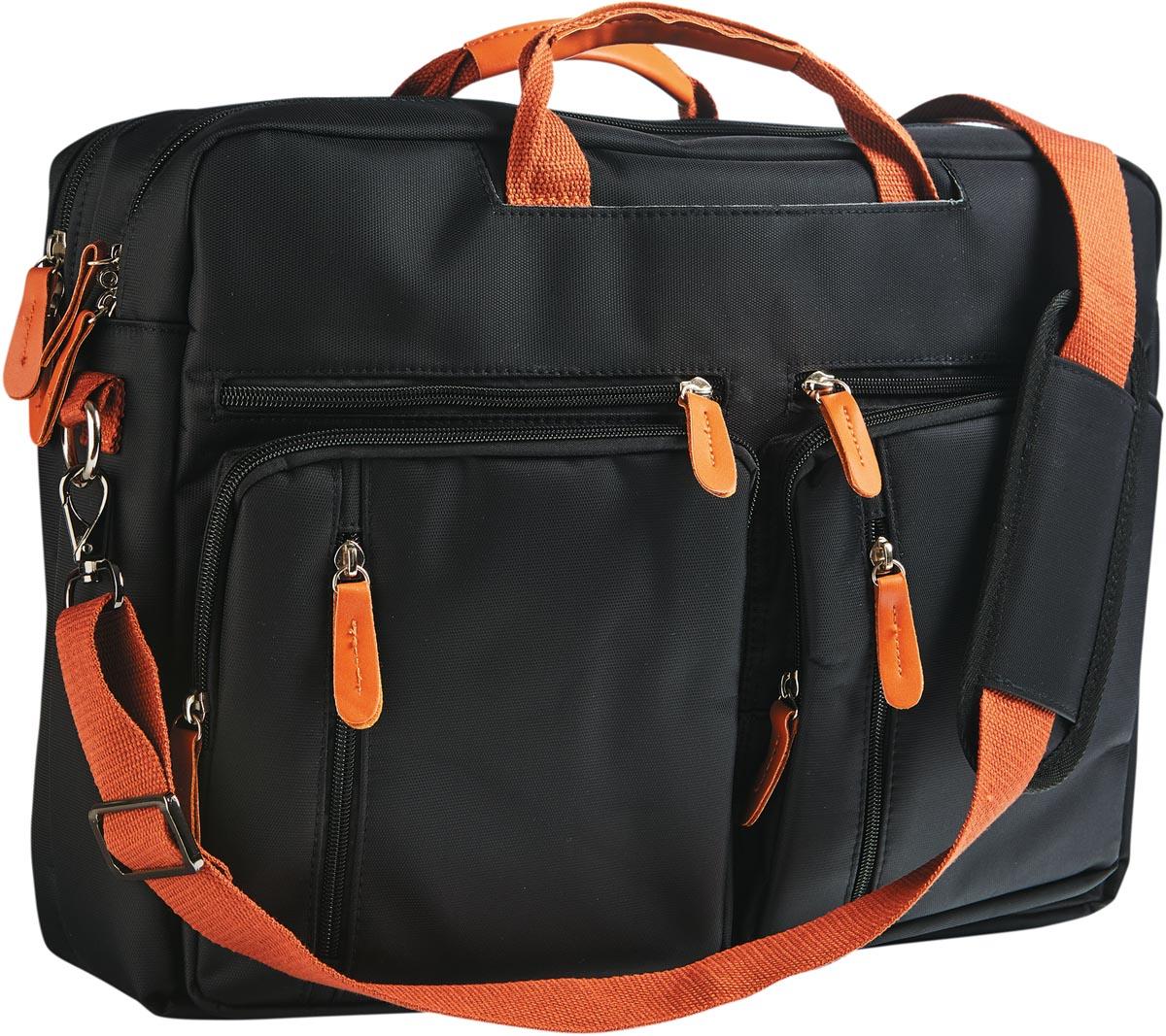 Cristo Urban laptoptas voor 17 inch laptops, 2-in-1, zwart