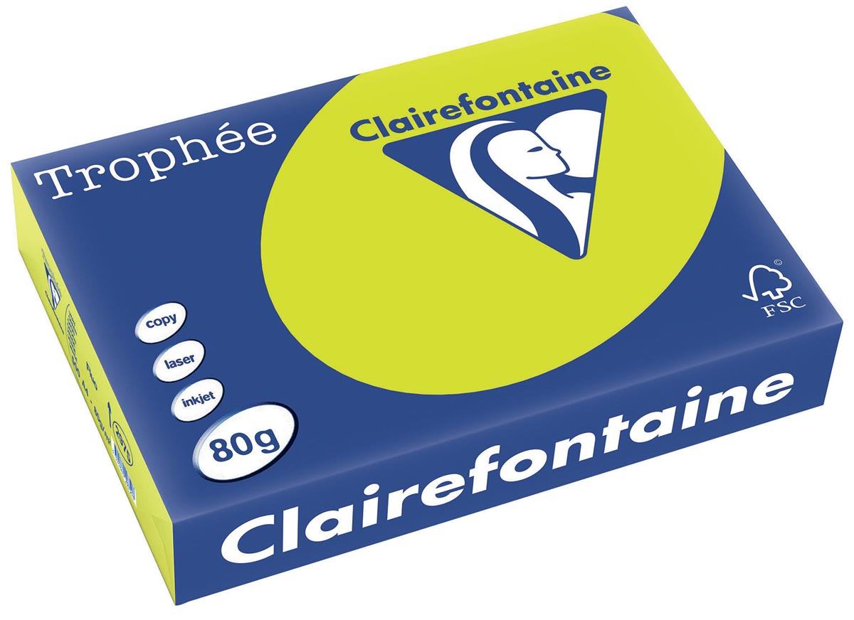 Clairefontaine Trophée Intens A4, 80 g, 500 vel, fluogroen
