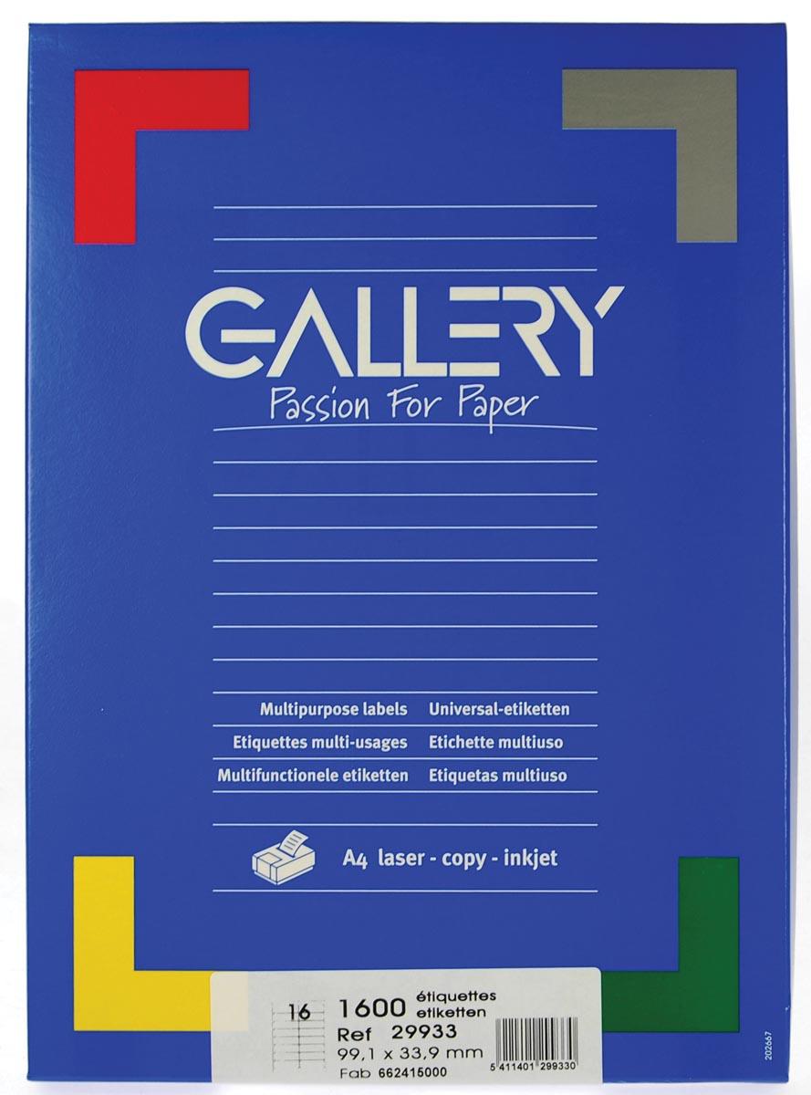 Gallery witte etiketten ft 99,1 x 33,9 mm (b x h), ronde hoeken, doos van 1.600 etiketten