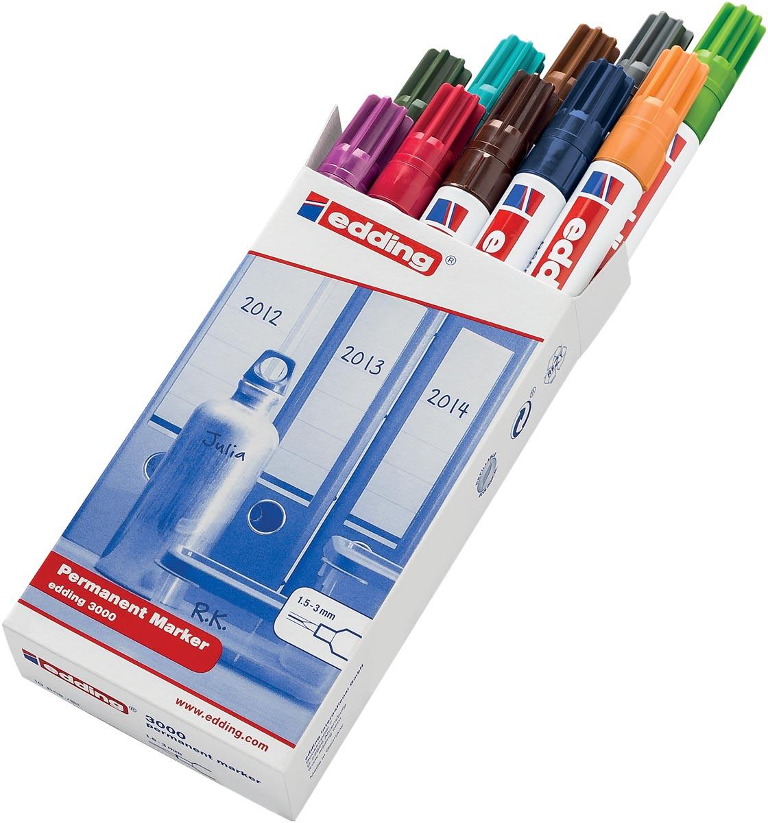 Edding permanent marker 3000, doos met 10 stuks in geassorteerde kleuren