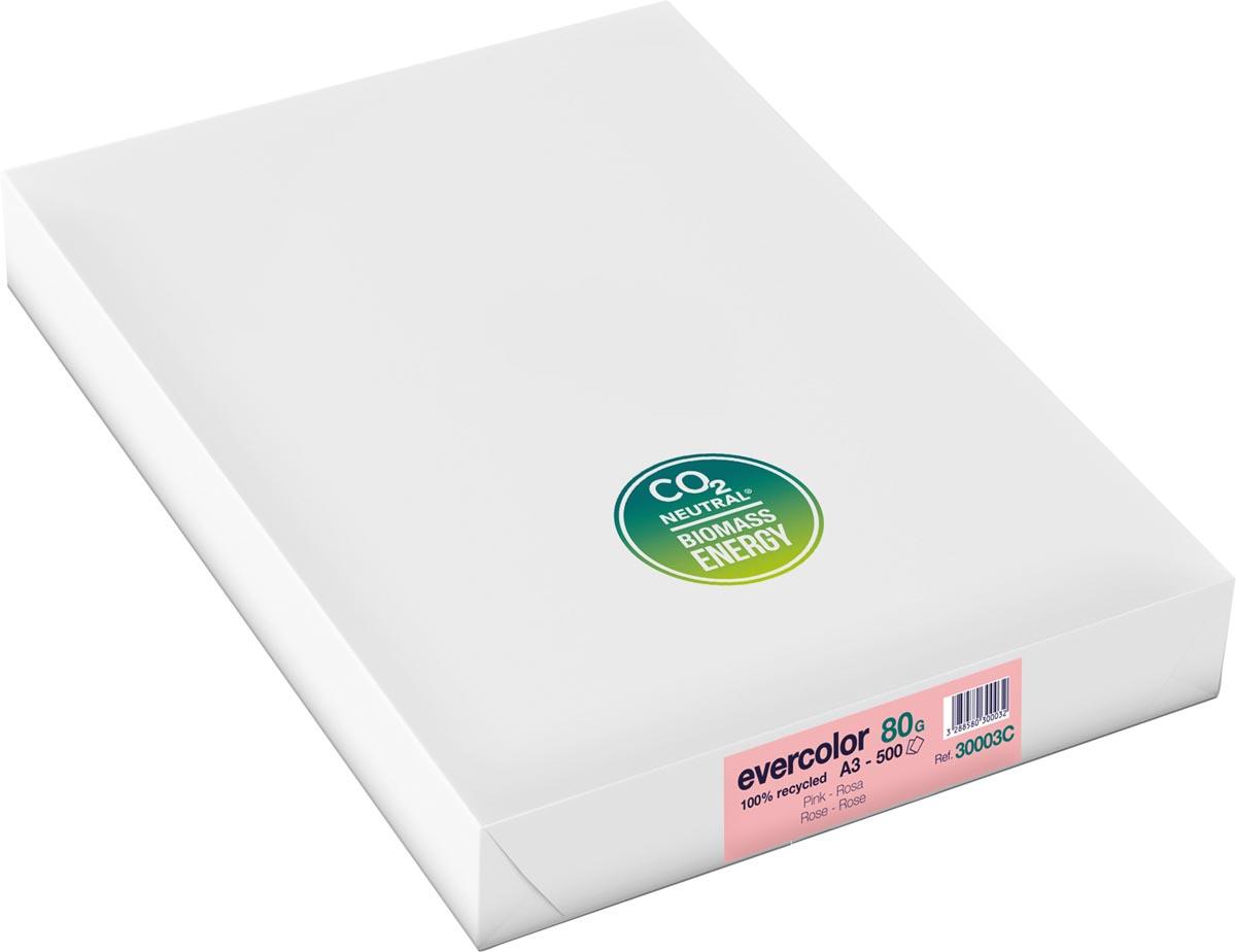Clairefontaine Evercolor gekleurd gerecycleerd papier, A3, 80 g, 500 vel, roze