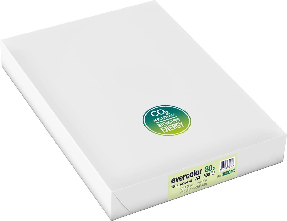 Clairefontaine Evercolor gekleurd gerecycleerd papier, A3, 80 g, 500 vel, lichtgroen